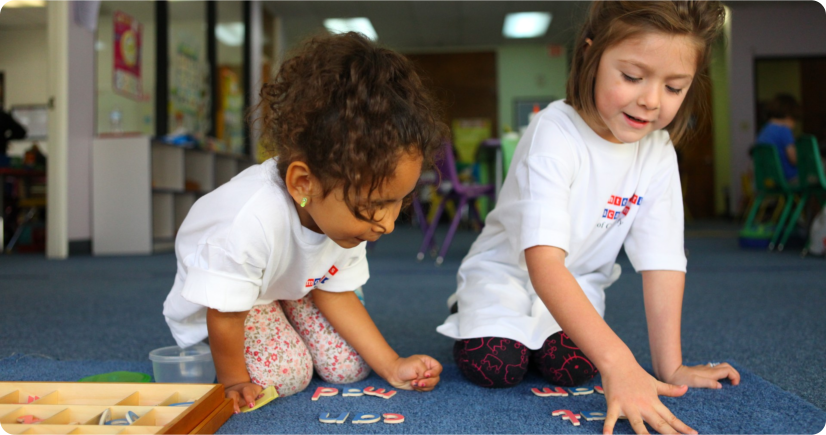 two kids playing puzzle